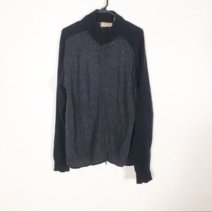 BKE Grey and Black Knit Zip Up Cardigan Sweater